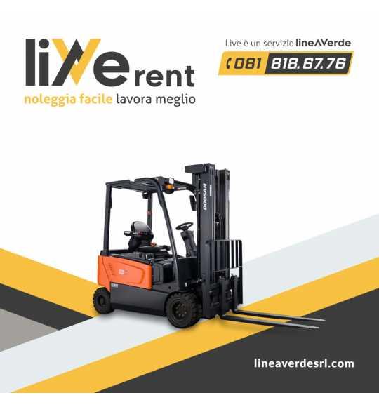 LiveRent DOOSAN Carrello elevatore elettrico 4 ruote portata 16 Q.LI (48 volt)